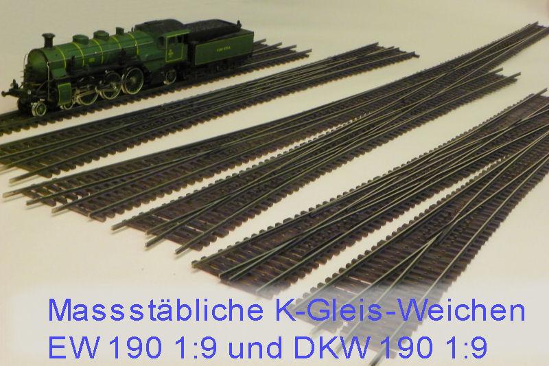 Maßstäbliche K-Gleis-Weichen