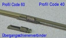 6 Schienenverbinder Code 60/55 auf Code 40