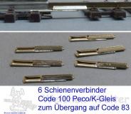 6 Schienenverbinder K-Gleis C100 auf C83